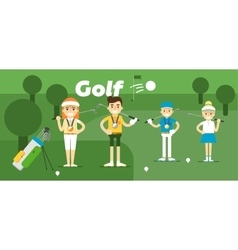 Golf team on award with medals vector