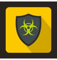 Gray shield with a biohazard sign icon flat style vector image