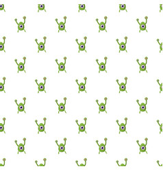 Green one eye alien monster pattern vector