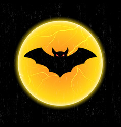 Halloween bat fly and moon vector