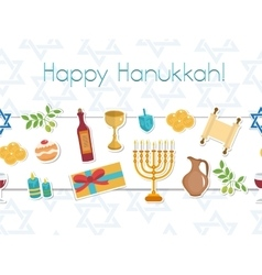 Happy Hanukkah seamless poster greeting card vector image vector image