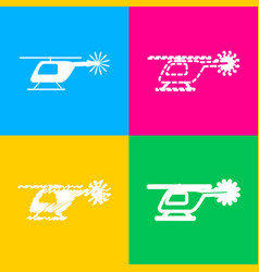 Helicopter sign four styles of icon vector