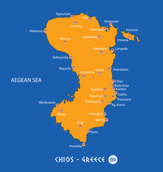 Island of chios in greece orange map and blue vector
