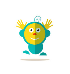 Jumping baby funky flat avatar isolated vector