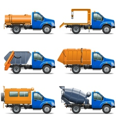 Lorry icons set 5 vector