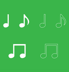 music note set icon white color vector image vector image