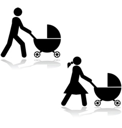 Pushing a stroller vector image vector image