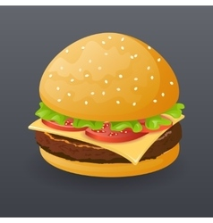 Realistic Hamburger Fast Food Icon Retro Cartoon vector image