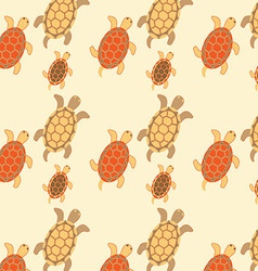 Seamless turtles colored vector