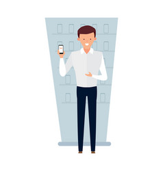 seller adviser of interior cellular communication vector image