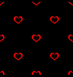 Tile pattern with red hearts on black background vector