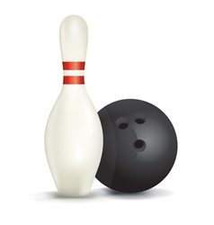 Bowling pin and ball vector