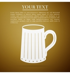 Wooden beer mug flat icon on brown background vector image