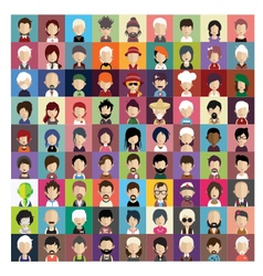 Set of people icons in flat style with faces 03 b vector