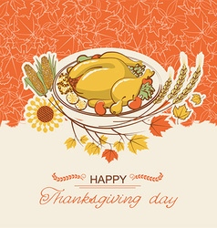Thanksgiving day card with roasted turkey dish vector