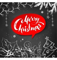 Chalk drawn Christmas with lettering vector image