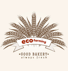 Eco farming emblem with wheat ears vector