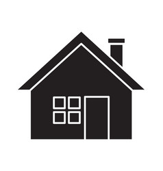 Flat black house icon vector