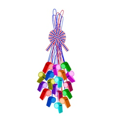 Set of whistles hanging on a stripe ribbon vector