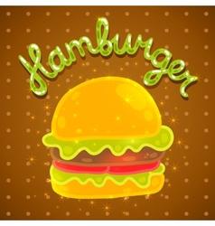 Cute cartoon hamburger image vector