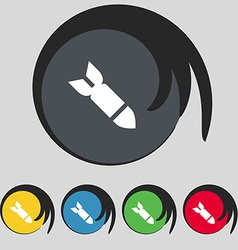 Missilerocket weapon icon sign symbol on five vector