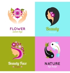 Beauty concept design 4 flat square vector