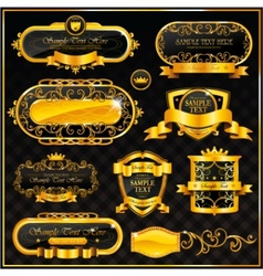 Decorative ornate gold frame label vector