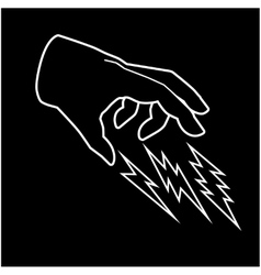 Hand and thunder vector