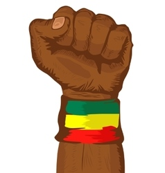 Fist wearing a flag of ethiopia wristband vector