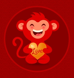 Red monkey with heart vector