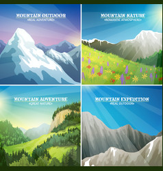 Mountain landscapes 4 flat icons square vector