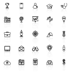 Job description line icons with reflect on white vector