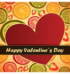 Valentine day card with fruits and heart vector
