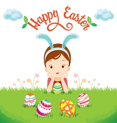 Girl and colourful easter eggs on lawn vector