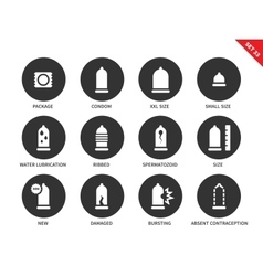 Condoms icons on white background vector