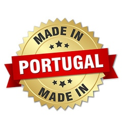 Made in portugal gold badge with red ribbon vector