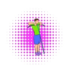 Man exercising on cable machine icon comics style vector