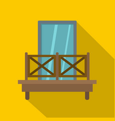 Balcony with wooden fence icon flat style vector
