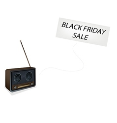Beautiful old radio playing black friday song vector
