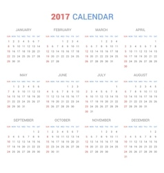 Calendar Template for 2017 on White Background vector image vector image