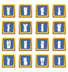 Candle forms icons set blue vector
