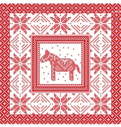 Christmas pattern with horse and snowflakes vector