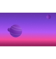 Colorful night skies with planet space vector