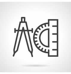 Compasses and protractor black line icon vector image