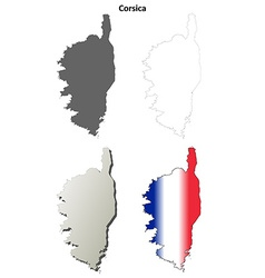 Corsica blank detailed outline map set vector