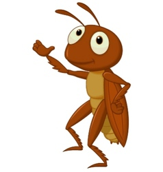 Cute cricket cartoon presenting vector