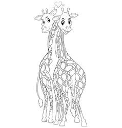 Doodle animal for giraffe couple vector