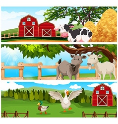 Farm animals on the farmland vector