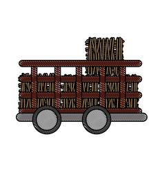 farm carriage with straw isolated icon vector image
