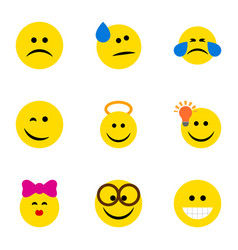 Flat icon face set of grin tears pleasant and vector